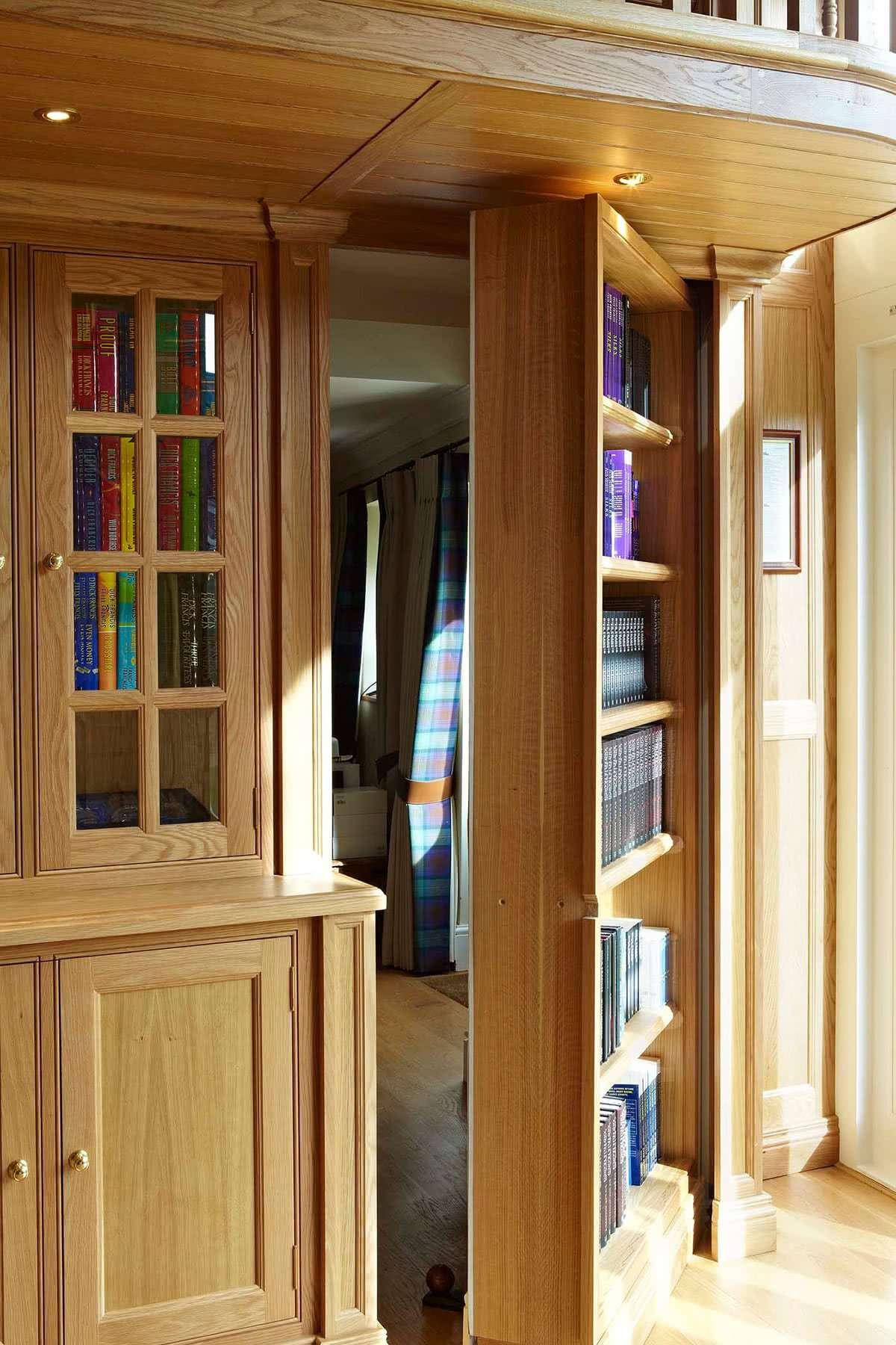 Balconied Oak Library With A Secret Bookcase Door Heaven